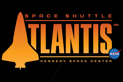 """The logo for Space Shuttle Atlantis features fiery oranges to represent the shuttle's launch and re-entry to Earth, and the iconic silhouette of the orbiter aptly represents the """"A"""" in Atlantis. The NASA insignia serves as a reminder of the pride and patriotism in America's space program. Opening June 29, the shuttle's $100 million home at Kennedy Space Center Visitor Complex will feature more than 60 interactive exhibits but simply be called """"Space Shuttle Atlantis"""" in reverence to its star.  (PRNewsFoto/Kennedy Space Center Visitor Complex)"""