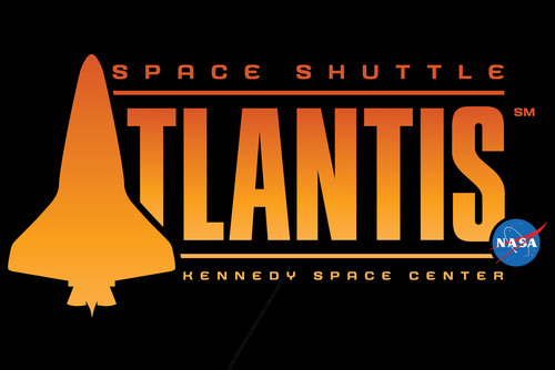 The logo for Space Shuttle Atlantis features fiery oranges to represent the shuttle's launch and re-entry ...