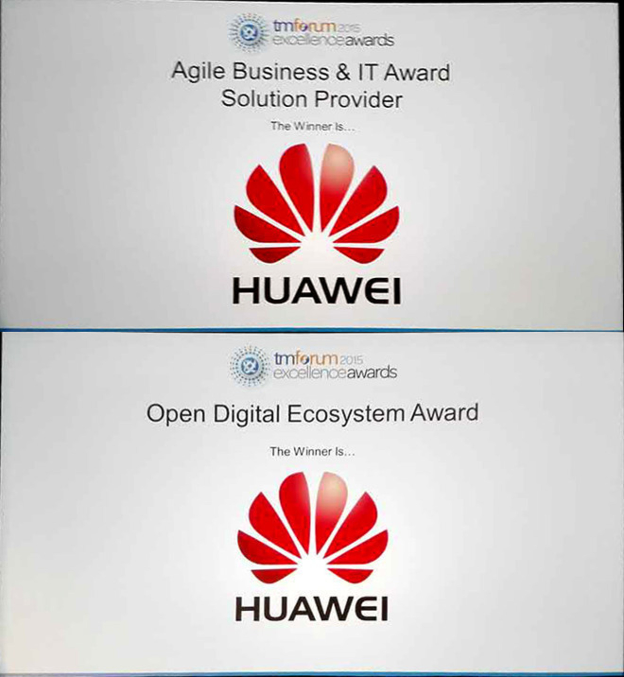 Huawei remporte les Prix d'excellence 2015 du TM Forum pour l'écosystème numérique ouvert et la