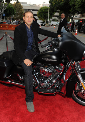 Charlie Hunam on a 2013 Harley-Davidson Denim Black Street Glide at the Season Five Premiere of Sons of Anarchy.  (PRNewsFoto/Harley-Davidson Motor Company, Frank Micelotta/FX/PictureGroup)