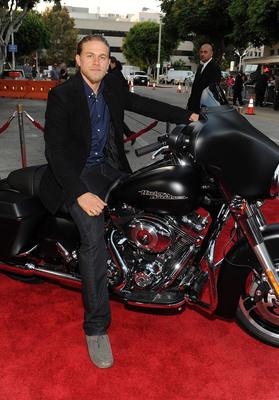 Charlie Hunam on a 2013 Harley-Davidson Denim Black Street Glide at the Season Five Premiere of Sons of Anarchy.  (PRNewsFoto/Harley-Davidson Motor Company, Frank Micelotta/FX/PictureGroup)