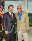 Gov. Charlie Crist (r) and Attorney Dan Newlin at Law Offices of Dan Newlin, Orlando, Florida, August 14, 2014. (Photo credit: Pedro Pacheco). (PRNewsFoto/Law Offices of Dan Newlin)