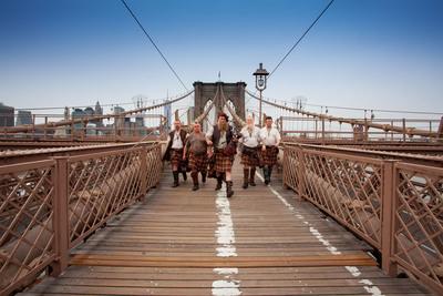 Saor Patrol crosses Brooklyn Bridge.  (PRNewsFoto/VisitScotland)