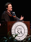 World renowned photographer David LaChapelle spoke to high school graduates at his alma mater in Winston-Salem, N.C. (Photo by Allen Aycock)
