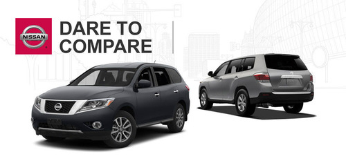 The 2014 Nissan Pathfinder and 2014 Toyota Highlander battle it out at Ingram Park Nissan.  (PRNewsFoto/Ingram Park Nissan)