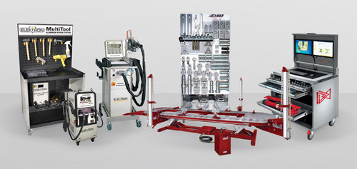 Ford has approved a full range of Chief Automotive Technologies and Elektron collision repair equipment for the 2015 F-150, which is the first truck in its class to use aluminum for the body panels and bed. Dealers can purchase this equipment through the Ford Rotunda Dealer Equipment program, including (left to right) the Elektron MultiTool Aluminum Dent Repair Station, Elektron MultiMig 522 dual torch MIG/MAG inverter welder, Elektron Multispot(R) MI-100control T resistance spot welder, Chief Goliath frame repair system, Chief Structural Holding with F-150 Kit, and Chief LaserLock(TM) live mapping system(TM). (PRNewsFoto/Chief Automotive Technologies) (PRNewsFoto/CHIEF AUTOMOTIVE TECHNOLOGIES)