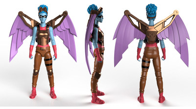 """Exploration's Wings: Exploration from Series 2/Wisdom is one of IAmElemental's most popular 4"""" articulated female action figures.  Visitors to New York Comic Con Booth 1764 visitors will have the opportunity to pose with the Exploration Superpower: Exploration's Wings, human-scale animatronic wings with a nine-foot wingspan, fabricated exclusively for IAmElemental by Academy Award-winning Jim Henson's Creature Shop."""