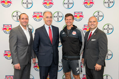 MLS Coach of the Year Jesse Marsch (2nd from right) with Red Bulls General Manager Marc de Grandpre, Bayer Corporation President Phil Blake and Bayer Head of Communications Ray Kerins (from left to right).