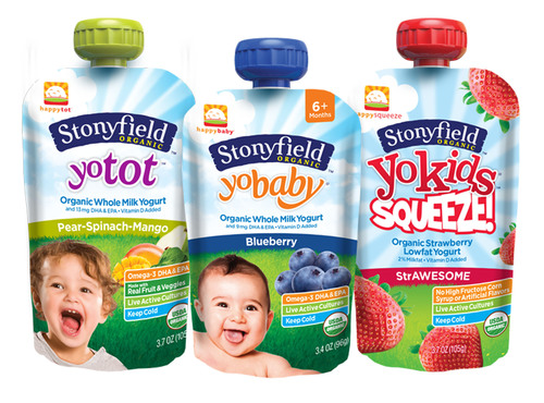 STONYFIELD AND HAPPY FAMILY INTRODUCE CO-BRANDED LINE OF YOGURT POUCHES FOR BABIES, TODDLERS AND KIDS AT EXPO WEST.  (PRNewsFoto/Stonyfield)