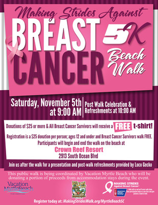 Making Strides Against Breast Cancer Beach Walk is set for November 5 in Myrtle Beach, SC.