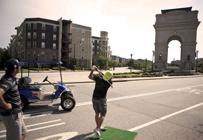 Rickie Fowler takes on the Millennium Gate in a game of Red Bull P.A.R. with Cameron Tringale in Atlanta.  (PRNewsFoto/Red Bull, Robert Snow/Red Bull Media House)