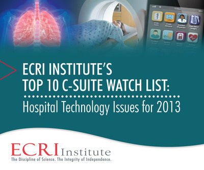 Healthcare reform, accountable care organizations, readmissions, and reimbursement rates are just a few of the major challenges facing today's healthcare leaders. Balancing costs and savings potential for new technologies also weighs heavily on their shoulders. A new Watch List from ECRI Institute, an independent nonprofit that researches best approaches to improving patient care, provides a roadmap to 10 technology issues that healthcare leaders should have on their radar in 2013 and beyond.  (PRNewsFoto/ECRI Institute)