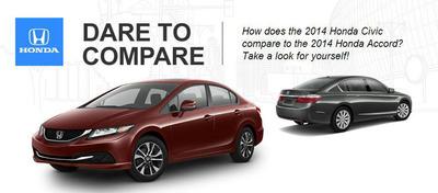 Drivers deciding between the 2014 Honda Civic and 2014 Honda Accord must choose between compact and mid-size Honda performance.  (PRNewsFoto/Continental Honda)