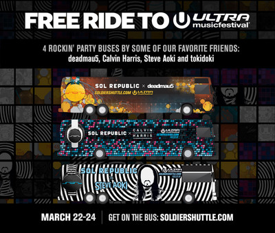 SOL REPUBLIC offers the most popular ride at Ultra Music Festival in Miami with FOUR unique decked-out SOLdier Shuttles running from March 22-24. Fans can get on the free buses by registering at: www.SOLREPUBLIC.com/FreeRide.  (PRNewsFoto/SOL REPUBLIC)