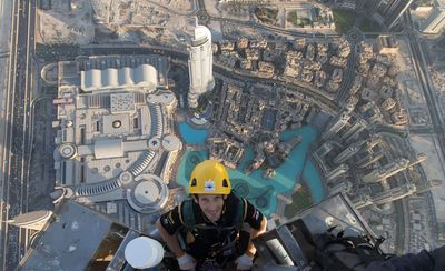 Lotus F1(R) driver Romain Grosjean scales new heights at Burj Khalifa