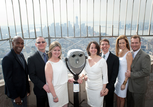 "The Empire State Building and celebrity event designer Preston Bailey today announced three couples to wed at the world's most romantic building tomorrow as part of the 19th annual Valentine's Day Weddings Event, ""Love is in the Air."" (PRNewsFoto/Empire State Building)"