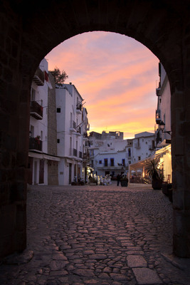 Sunset over Ibiza's old town-one of Crystal Cruises' 2014 European maiden calls.  (PRNewsFoto/Crystal Cruises)