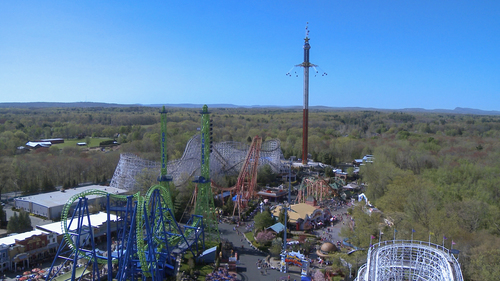 Tallest swing ride on the planet. The New England SkyScreamer stands over 400ft in the air spinning at speeds ...