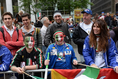 Spectators line up along Fifth Avenue to watch the 71st Columbus Day Parade organized by the Columbus Citizens Foundation.