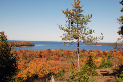 This scenic overlook in Peninsula State Park is just one of several picturesque spots in Door County, Wisconsin, where the impressive fall colors and panoramic shoreline views can be enjoyed. Door County Visitor Bureau/DoorCounty.com photo.