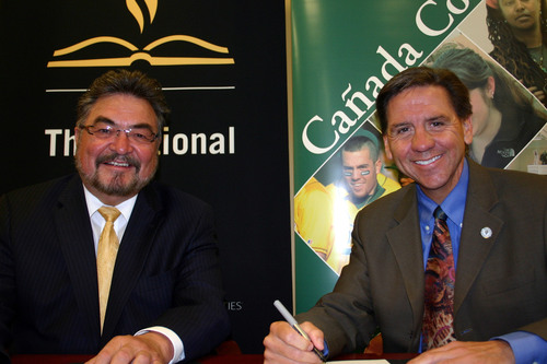 Dr. David Lopez, president of The National Hispanic University (NHU), and Dr. Lawrence Buckley, president of ...