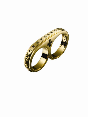 """Hoorsenbuhs 18 karat gold NYC edition double ring, limited edition Barneys New York Holiday collection in collaboration with Shawn """"JAY Z"""" Carter.  (PRNewsFoto/Barneys New York)"""