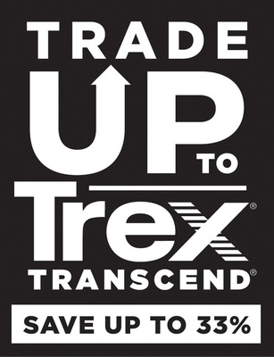 "Through the ""Trade Up to Trex Transcend"" promotion, homeowners with composite decks may be eligible to receive a limited-time rebate of up to 33 percent off the manufacturer's suggested retail price of Trex Transcend decking.  (PRNewsFoto/Trex Company)"