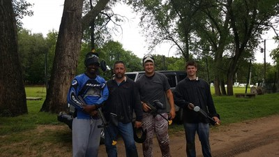 Veterans and guests braved the rain for an afternoon of paintball at Graffiti LLC.