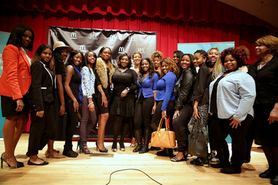 "Bravo's ""Fashion Queens"" host Bevy Smith (center) and Harlem's Fashion Row (HFR) founder Brandice Henderson-Daniel discussed staying relevant in the fashion industry with Clark Atlanta University students today. McDonald's partnered with HFR to launch the 2015 Lovin' Student Fashion Design Competition, open exclusively to HBCU students. Students can visit harlemsfashionrow.com for more details."