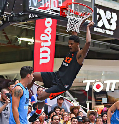 Alfonzo McKinnie slam dunks during the 3x3 World Tour Americas Masters Tournament.
