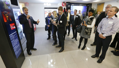 LG Electronics USA Senior Director of Sales Dan Smith provides media with a tour of the state-of-the-art Business Innovation Center at its grand opening on Wednesday, February 3, 2016, in Lincolnshire, IL. (Photos by Ross Dettman/AP Images for LG Electronics USA)