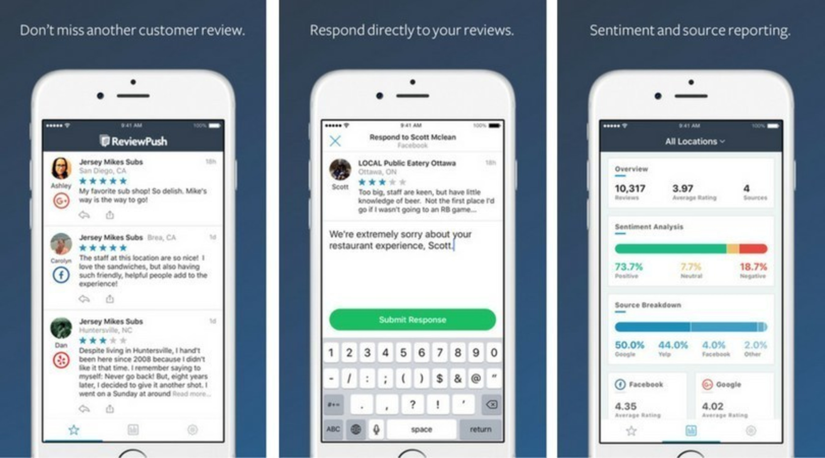 Manage your online reviews on the go with the ReviewPush mobile app!