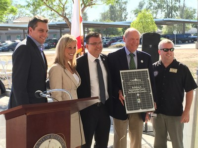 OpTerra Energy Services presents Leadership in Renewable Energy award to Riverside County during Flip the Switch Celebration on Tuesday, 9/29.