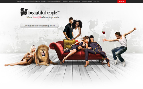 BeautifulPeople.com Front Page. (PRNewsFoto/BeautifulPeople.com)