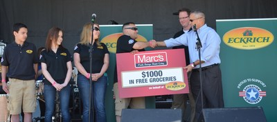 Ohio Army National Guard soldier Justin Milam and wife and two children were guests of Eckrich at the popular festival and were honored on the main stage with a $1,000 gift card toward the purchase of groceries at Marc's, courtesy of Eckrich.