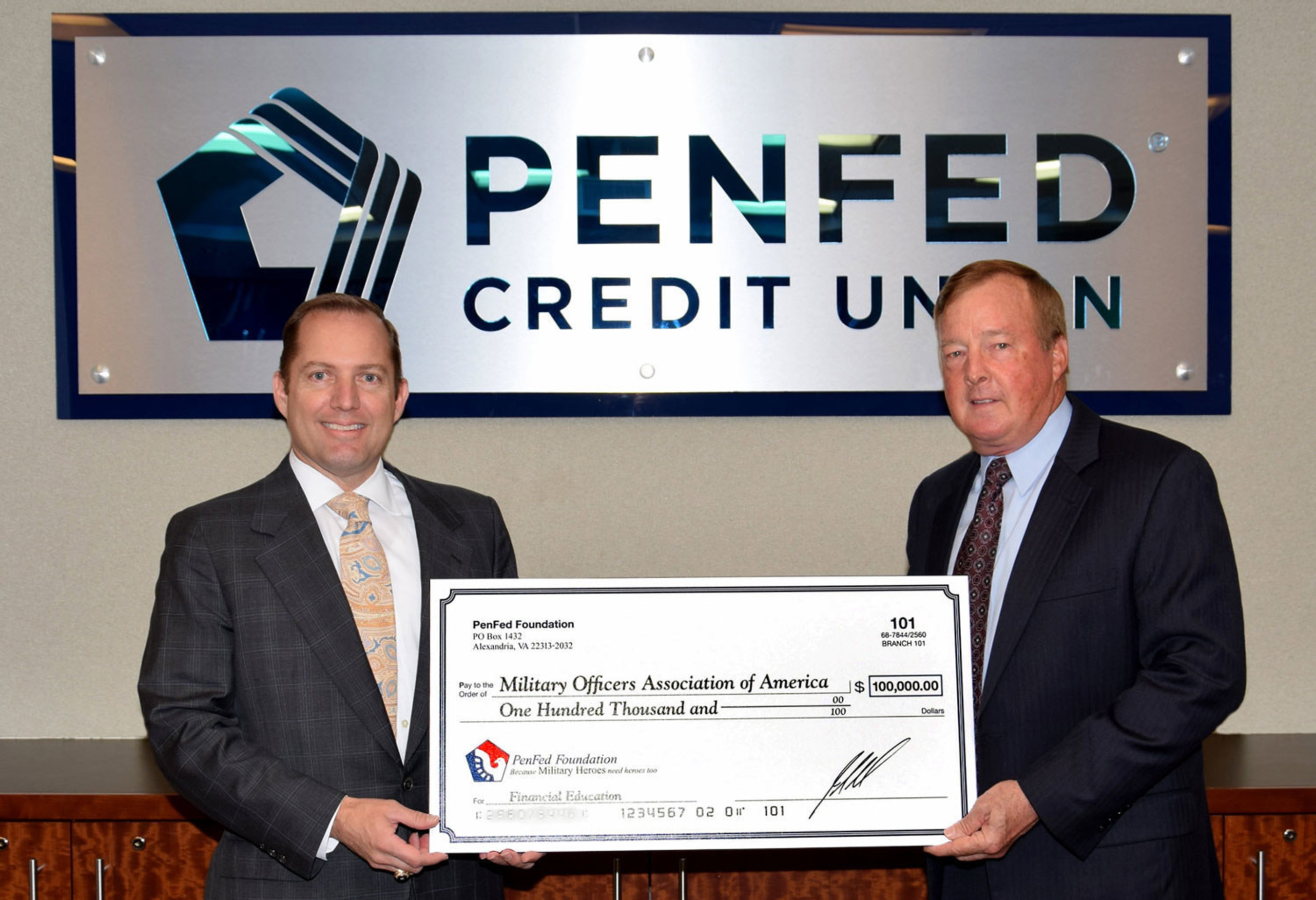 PenFed President and CEO James Schenck and MOAA President and CEO, retired Air Force Lt. Gen. Dana Atkins.