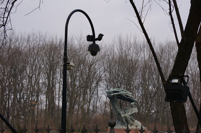 Ruckus access point mounted on a light pole in the Warsaw Royal Gardens, the largest park in Poland, covering 760,000 square meters. (image 2)