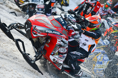 Ross Martin, Pro Snocross Racer, wears Breg knee braces.  (PRNewsFoto/Breg, Inc.)