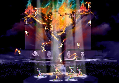 Set design rendering from Michael Jackson THE IMMORTAL World Tour(TM),  announced  Nov. 3 by the Estate of Michael Jackson and Cirque du Soleil. This once-in-a-lifetime electrifying production will combine Michael Jackson music and choreography with Cirque du Soleil creativity to give fans worldwide a unique view into the spirit, passion and heart of the artistic genius who forever transformed global pop culture. The tour begins October 2011 in Montreal followed by stops in select North American cities. (PRNewsFoto/Cirque du Soleil)