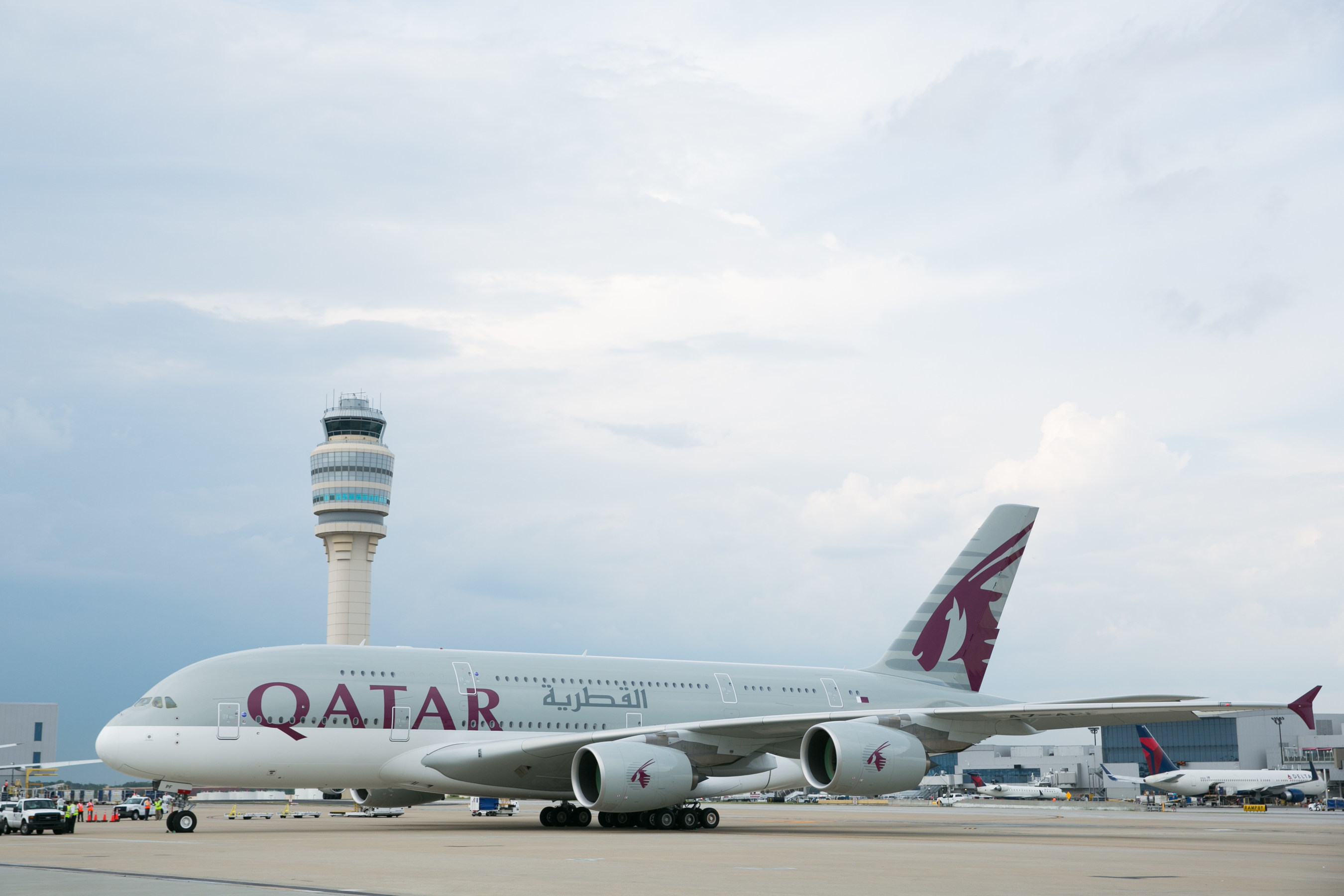 Qatar Airways A380 inaugural flight #756 taxis to pick up new Atlanta passengers bound for Doha and 41 countries beyond