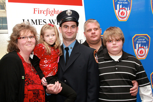 Firefighter James Wildes, 37, of Engine 162 on Staten Island, with the recipient of his life-saving stem cell ...