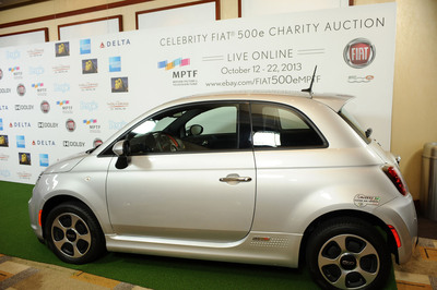 """Fiat 500e Personalized by Hugh Jackman Receives Winning Auction Bid of $50,000 During MPTF's """"One Night Only"""" Benefit on Saturday, October 12. Additional Fiat 500e vehicles have been signed by Jennifer Lawrence, Clint Eastwood, Anne Hathaway, Ron Howard, Barbra Streisand, Hans Zimmer, Kate Hudson, Will.i.am and Ryan Friedlinghaus are available for bidding until Oct. 22 on eBay Motors. (PRNewsFoto/Chrysler Group LLC) (PRNewsFoto/CHRYSLER GROUP LLC)"""