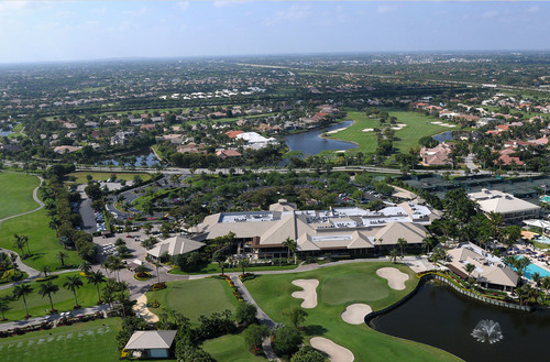 Aerial photo of St. Andrews Country Club in Boca Raton, FL. Club features include varied dining options, an ...