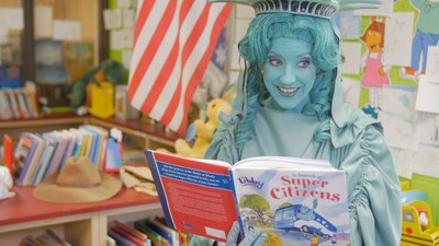 Libby Liberty reads to Our Next Great Americans