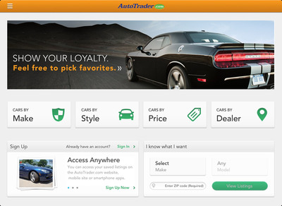New AutoTrader.com iPad App Helps Shoppers Discover Their Perfect Car.  (PRNewsFoto/AutoTrader.com)