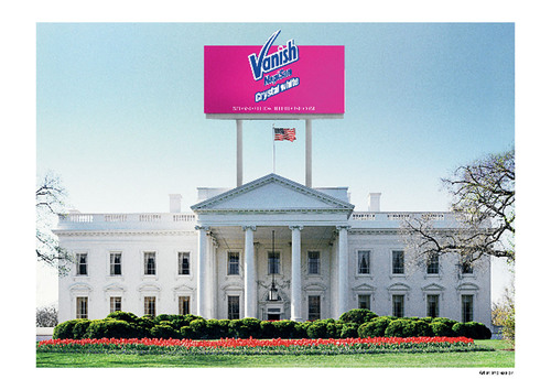 Manipulated Image: Vanish(R) NapiSan(R) bid for White House Sponsorship.  (PRNewsFoto/Vanish NapiSan)