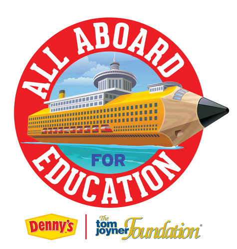 """Denny's is partnering with the Tom Joyner Foundation to launch the """"All Aboard for Education"""" contest and send one deserving teacher and a guest on the 2014 Fantastic Voyage. Now through Feb. 9, visit www.dennysforeducation.com to nominate an inspiring educator; the winning nominator will receive a tablet and free Denny's Grand Slam(R) breakfasts for a year. Since 2002, Denny's has supported more than 300 students, contributing more than $525,000 to the Tom Joyner Foundation's programs and scholarship funds. (PRNewsFoto/Denny's) (PRNewsFoto/DENNY'S)"""