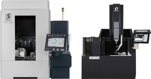 The Synova-Makino HybridCell consists of Synova's MCS 500 Laser MicroJet machine(R), along with Makino's EDBV3 EDM hole-drilling machine. The Laser MicroJet system is used to cut diffuser shapes in the coating layer and drilling metering holes, while the EDBV is used to drill deep through holes. It is a fully automated, manufacturing-ready, work cell that can handle a wide range of hole-drilling applications. (PRNewsFoto/Synova S.A.)