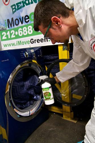 Moving blanket treatment process.  (PRNewsFoto/iMoveGREEN)