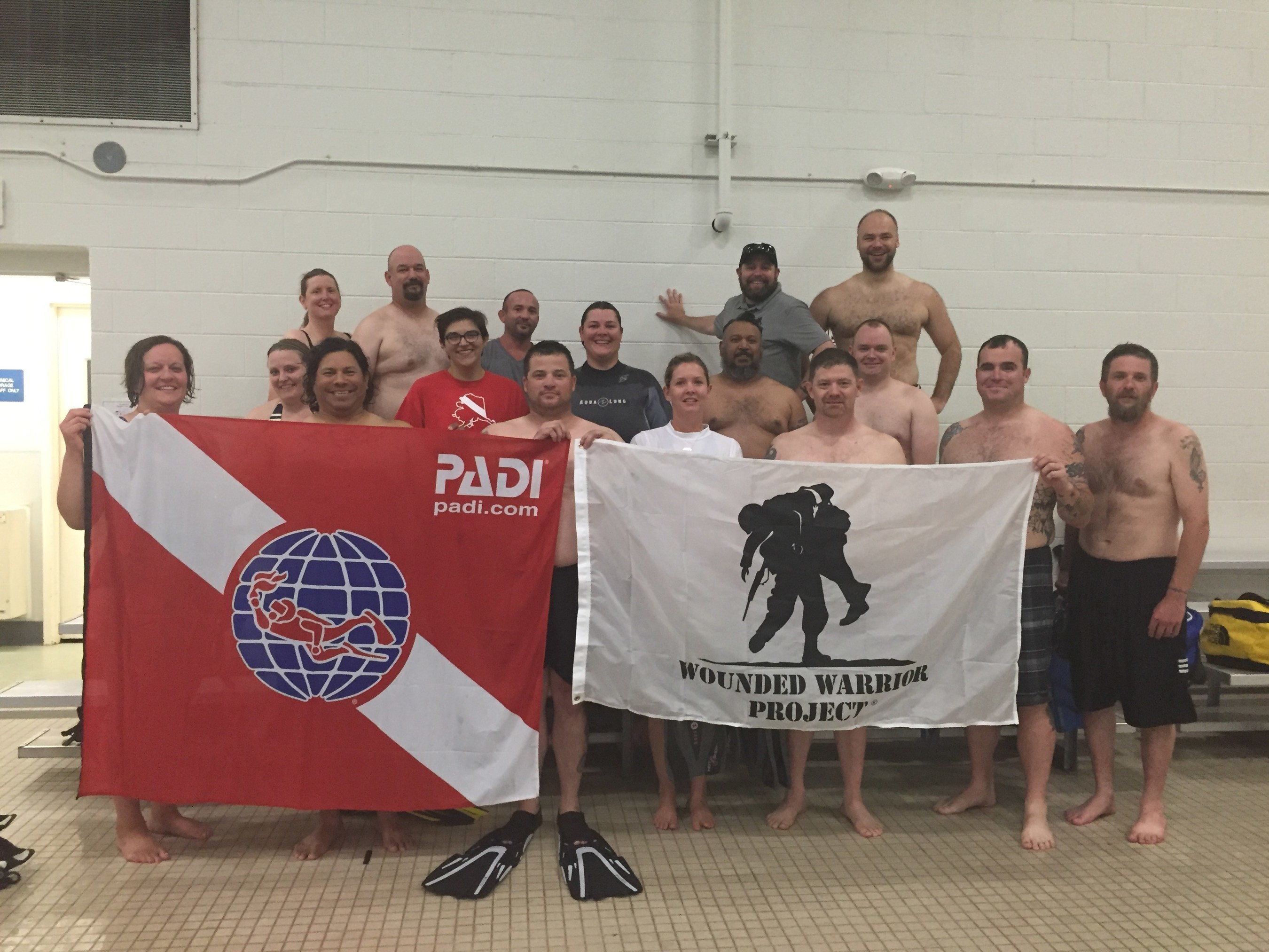 Injured veterans joined Wounded Warrior Project and teachers from the Professional Association of Diving Instructors for an introductory course to scuba diving.